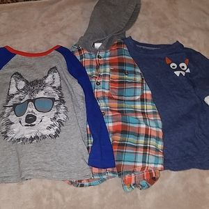 Two Long sleeve shirts in a boys size 3T